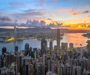 china, skyline, and sunset image