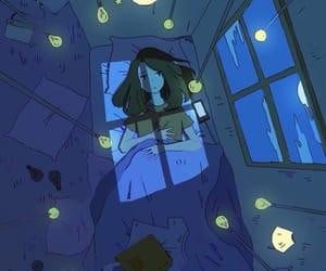 girl, night, and sleep image