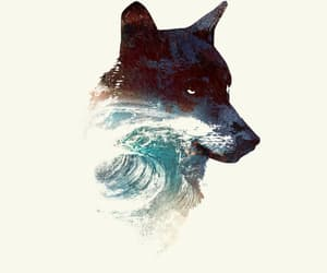 wallpaper, blue, and wolf image