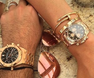 couple, gold, and watch image