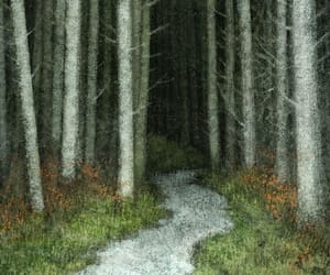 forest, illustration, and road image