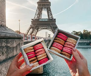 eiffel tower, macaroons, and paris image