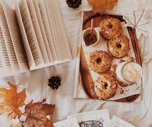 autumn, book, and donuts image