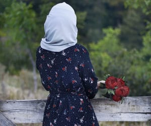 clothes, flowers, and hijab image