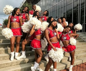 cheer, pompoms, and high school cheer image