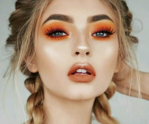 girl, makeup, and orange image
