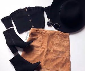 black boots, black hat, and black top image