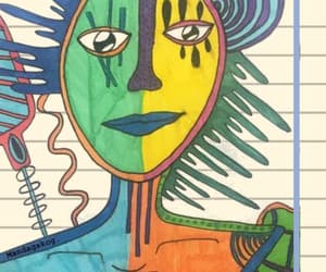 art, colours, and face image