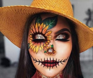 Halloween, makeup, and sunflower image