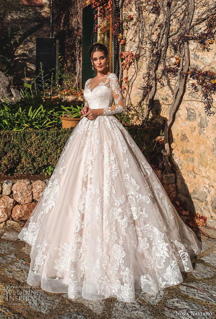 Nora Naviano 2019 Bridal Long Sleeves Sweetheart Neckline Full Embellishment Princess Romantic Ball Gown A Line Wedding Dress Sheer Button Back Royal Train 5 Mv,Destination Wedding Flower Girl Dress