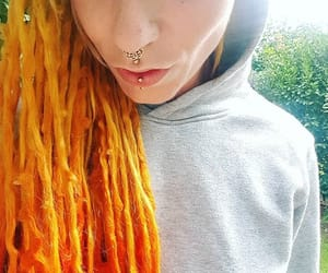 dreadlocks, red dreads, and yellow dreads image