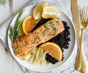 dinner, healthy, and salmon image