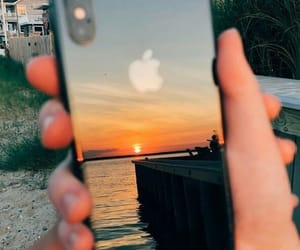iphone, sunset, and apple image
