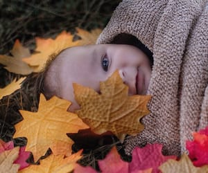 baby, fall, and leaves image