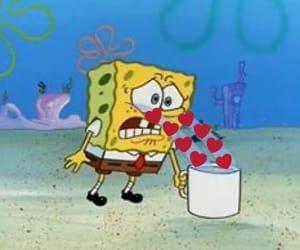 love, spongebob, and heart image