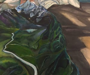 art, painting, and bed image