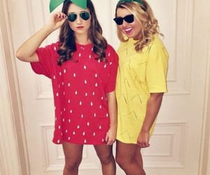 costume, friends, and fruit image
