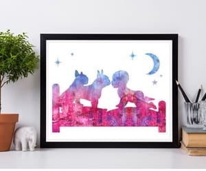 boston terrier, wall art, and watercolor image
