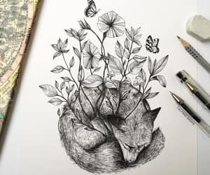 flowers, fox, and art image
