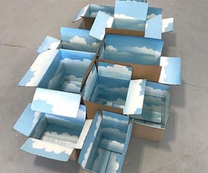 art, blue, and boxes image