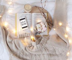 book, lights, and coffee image