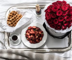 rose, breakfast, and flowers image