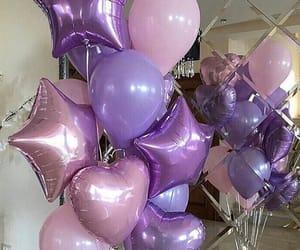 balloons, birthday, and purple image