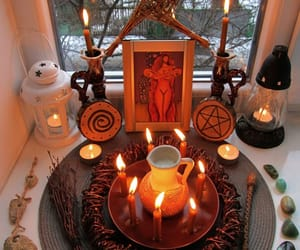 altar, witch, and paganism image