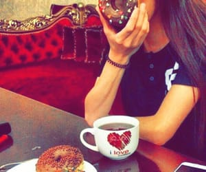 girl, beauty, and donuts image