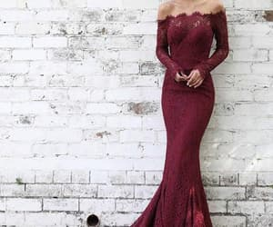 long sleeves prom dresses, burgundy prom dresses, and prom dresses lace image