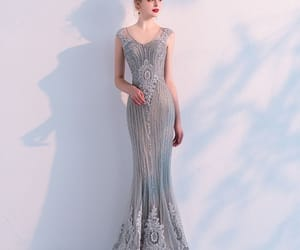 see through dress, gorgeous dress, and beading image