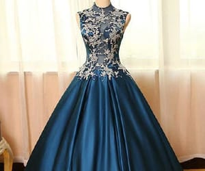 long prom dress, beautiful prom dress, and blue prom dress image