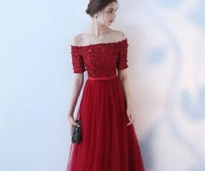 long prom dress, a-line evening dress, and burgundy prom dress image