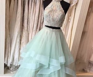 open back prom dress, high neck prom dress, and prom dress long image
