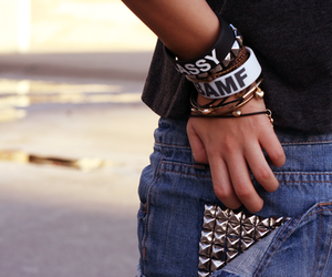 girl, studs, and accessories image