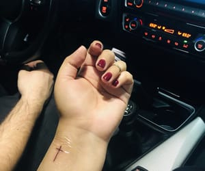 cross, tiny tattoo, and wristtattoo image