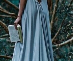 dress, blue, and book image
