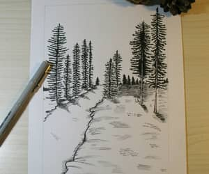 drawing, nature, and sketch image