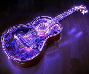guitar, music, and light image