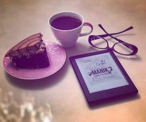cake, coffee, and kindle image