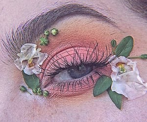 makeup, flowers, and eyes image
