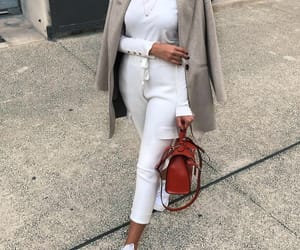 cozy, grey coat, and purse image