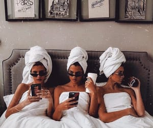 girl, friends, and bed image