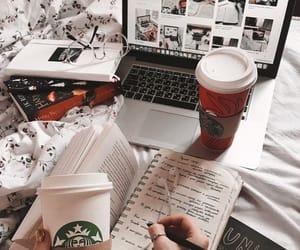 coffee, book, and starbucks image