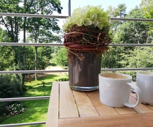 coffee, cup, and balcony image