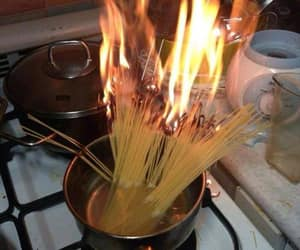 pasta, fire, and funny image