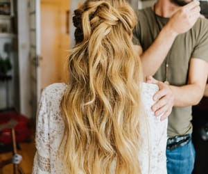 bridal, brides, and haircut image