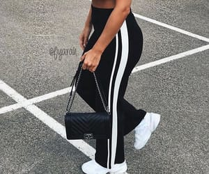 shoes sneakers, fashion style, and black white pants image