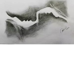 art, black&white, and couple image