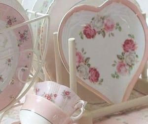 pink, teacups, and tableware image